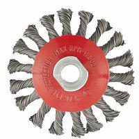 """Щетка для УШМ, 115 мм, М14, """"тарелка"""", крученая проволока 0,5 мм. MATRIX"""