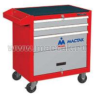 Тележка инструментальная, 3 ящика и отсек, красная МАСТАК 522-03581R