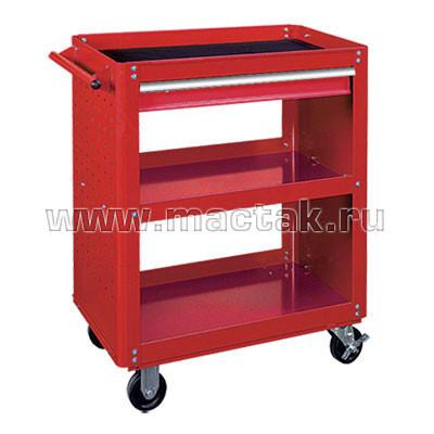 Тележка открытая, 3 полки и ящик, красная МАСТАК 520-01580