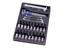 Набор торцевых насадок, шестигранники Г-образные и разрезные ключи, ложемент, 31 предмет KING TONY 9-90131MR