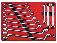 Набор накидных и разрезных ключей, зеркальная полировка, ложемент, 12 предметов МАСТАК 5-23112