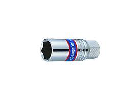 """Головка свечная шестигранная 1/2"""", 21 мм, L = 70 мм, резиновый фиксатор KING TONY 463521R"""