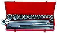 """Набор торцевых головок с принадлежностями 3/4"""", двенадцатигранные, 22-50 мм, 14 предметов KING TONY 6014MR"""