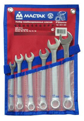 Набор комбинированных ключей, 10-19 мм, 6 предметов МАСТАК 0211-06P