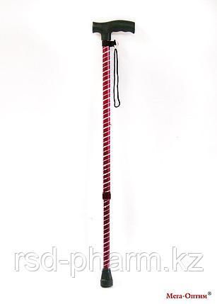 Трость блестящая с пластиковой ручкой ручкой (Спираль, бордо), фото 2