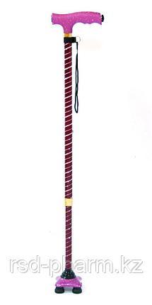 Трость с четырьмя ножками с фонариком (Спираль), фото 2