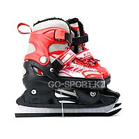 Детские раздвижные коньки, красные с меховой подкладкой In Line Skate, размер М (34-39), фото 1