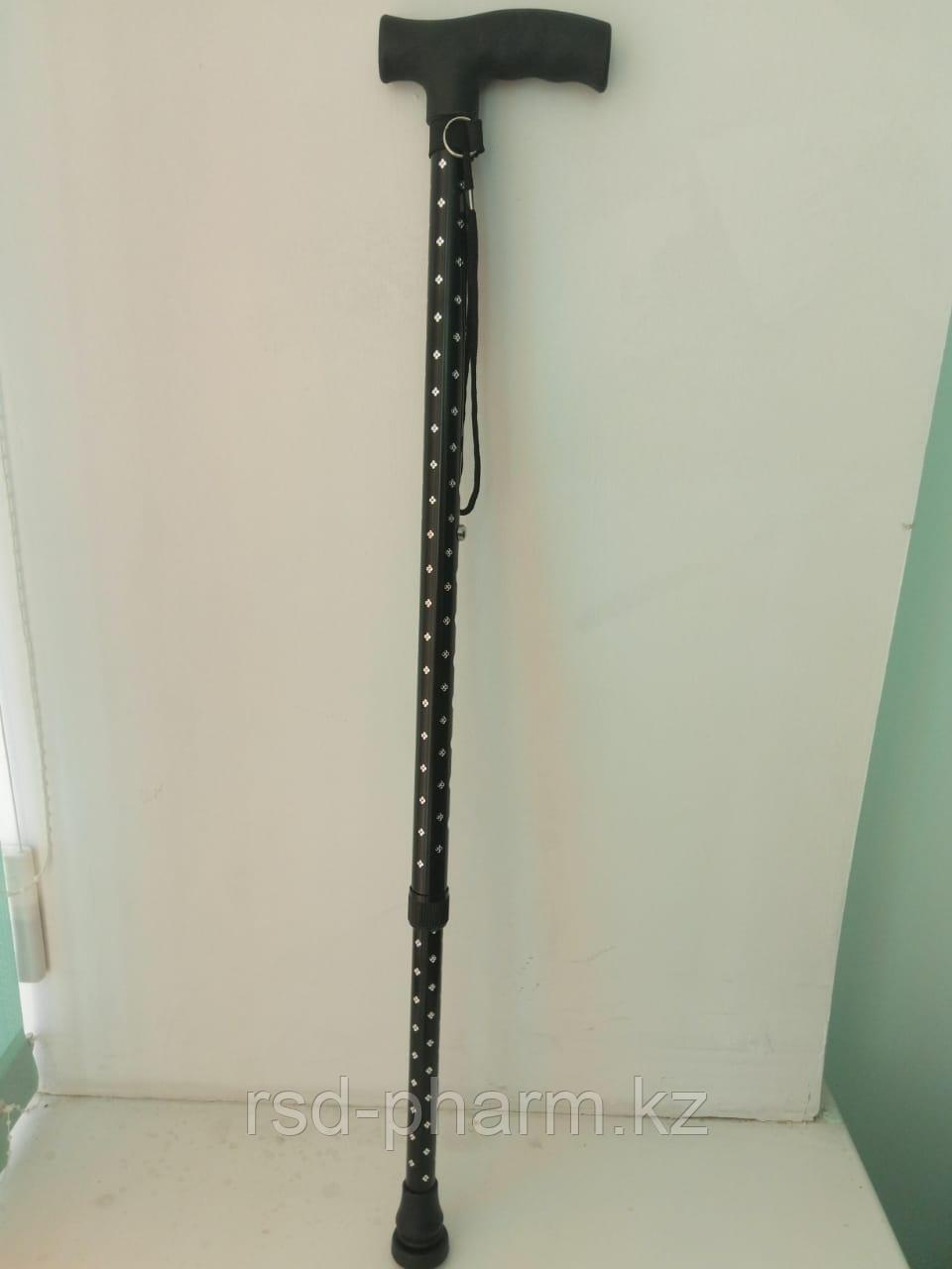 Трость блестящая с пластиковой ручкой ручкой (Звезда, черная)