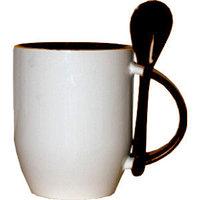 Кружка керамическая внутри коричневая с ложкой