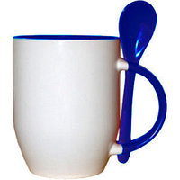 Кружка керамическая внутри синяя с ложкой