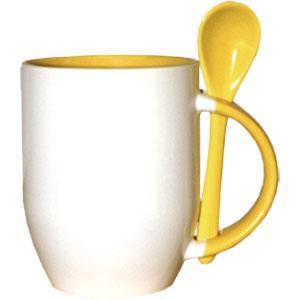 Кружка керамическая  внутри желтая с ложкой