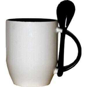 Кружка керамическая  внутри черная с ложкой