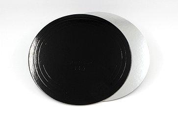 Pasticciere. Подложка черная/серебро D 260 мм ( Толщина 1,5 мм )*50 шт/упак