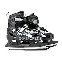 Детские раздвижные коньки, черные с меховой подкладкой In Line Skate, размер S (28-33), фото 1