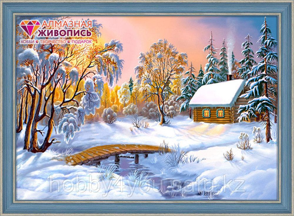 "Картина стразами ""Избушка в зимнем лесу"", 40*60см"