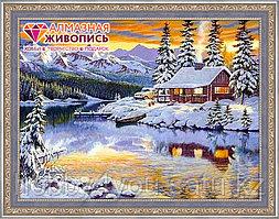"""Картина стразами """"Зимний домик у реки"""", 40*65см"""