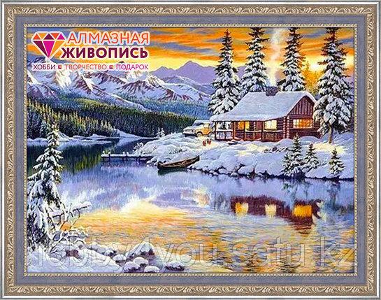 """Картина стразами """"Зимний домик у реки"""", 40*65см, фото 2"""