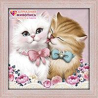 "Картина стразами ""Кот и кошка"", 25*25см"