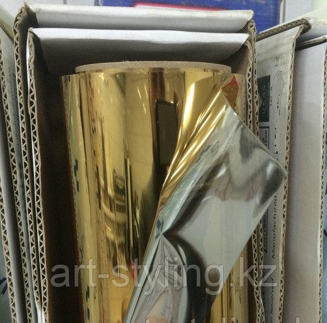 Золотая зеркальная пленка (обратный клеевой слой), в Алматы