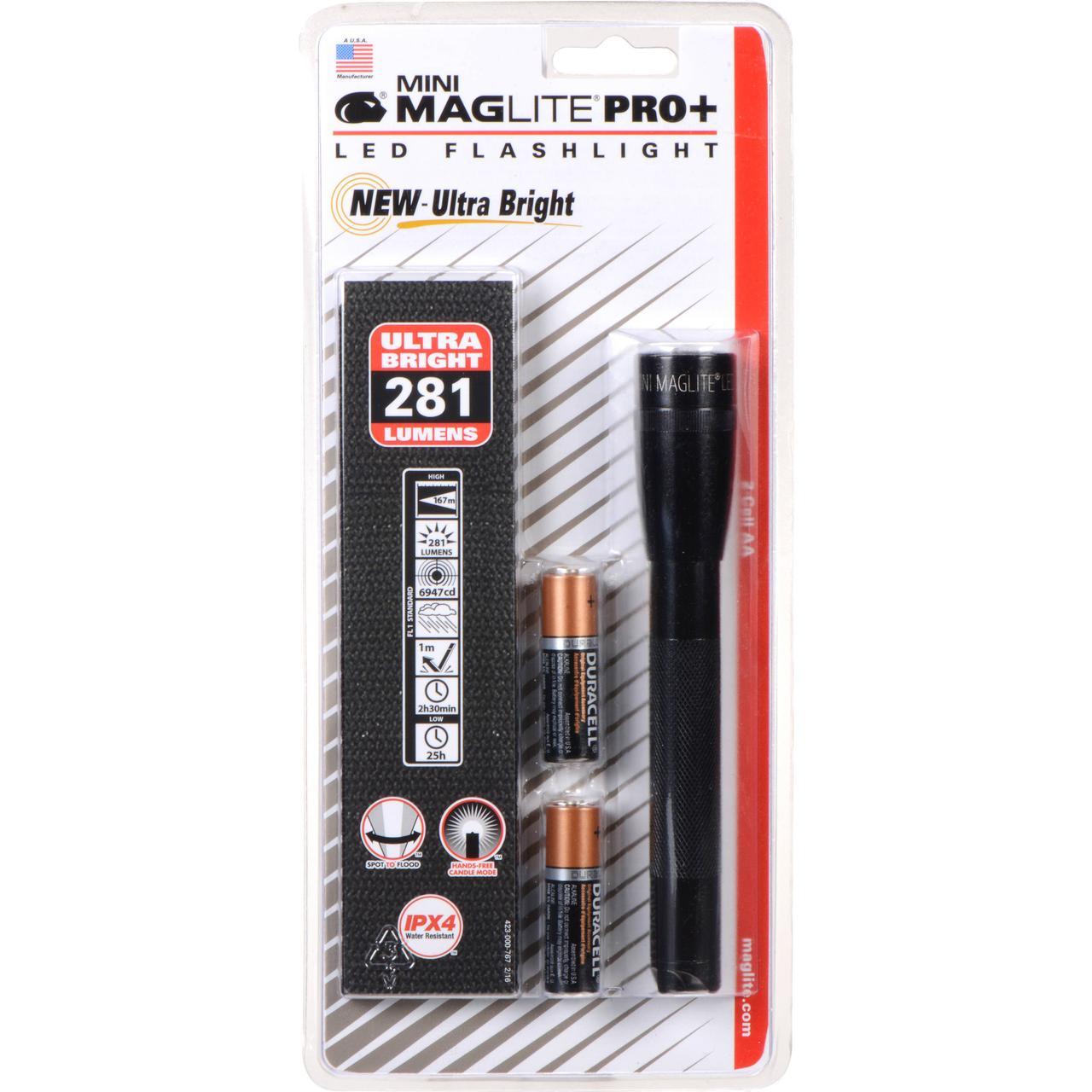 Фонарь MINI MAGLITE LED PRO+ 2xAA (245 Lum)(с 2-мя батарейками и чехлом)(черный)(в блистере) R34640