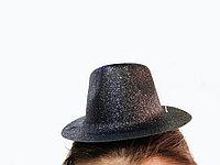 Шляпка карнавальная мини Котелок с блеском D13