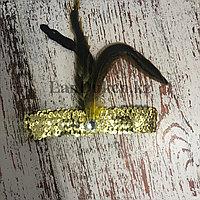 Карнавальная повязка на голову с пайетками и пером золотая в стиле Гэтсби