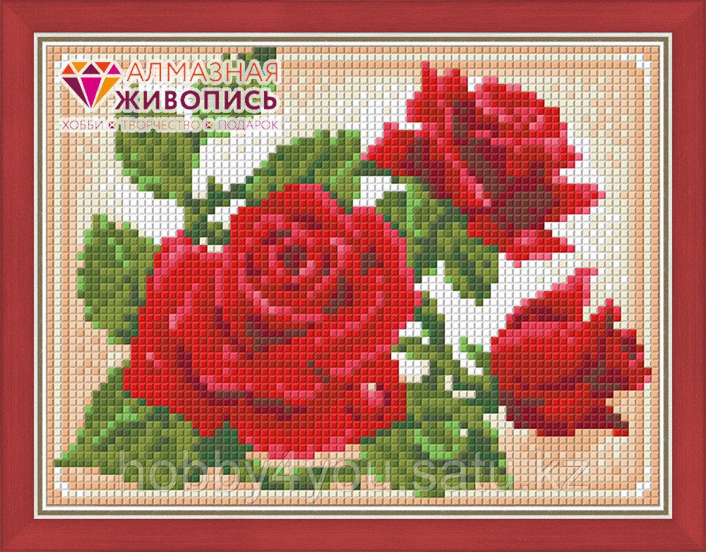 """Картина стразами """"Молодая роза"""", 15*20см"""