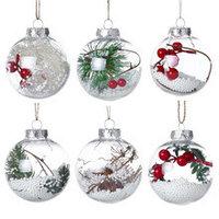 Пластиковые прозрачные елочные шары с новогодними композициями внутри (Набор 24 шт), фото 1