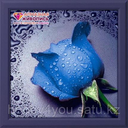 """Картина стразами на холсте """"Синяя роза"""", 22*24см, фото 2"""