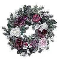Венок еловый d40см заснеженный с цветами KA688370