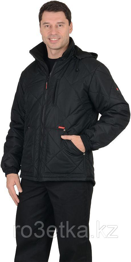 """Куртка рабочая ИТР """"ПРАГА-Люкс"""" мужская, с капюшоном, черный"""