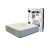Hikvision DS-7104HGHI-E1+WD10PURX HD TVI Видеорегистратор 4-х кан+ Жесткий диск WD Purple 1 ТБ