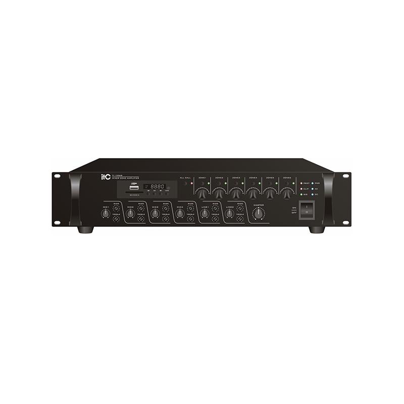 ITC TI-3506S Микширующий усилитель 350W, 6 зонный  с USB / SD + FM-тюнером и Bluetooth