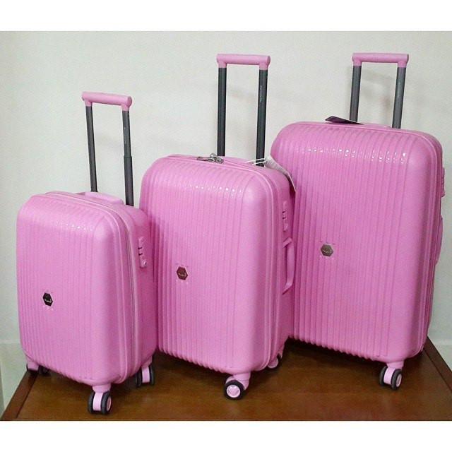 """Дорожный пластиковый чемодан """" Aotian """" розовый среднего размера"""