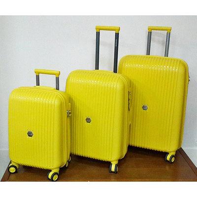 """Чемодан пластиковый """"Aotian"""" средний желтого цвета для путешествий"""