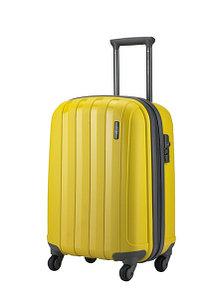 """Большой пластиковый чемодан на колесах """" Aotian """" желтый"""