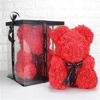 Мишка из роз  40см красный цвет в подарочной упаковке, фото 1
