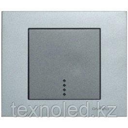 Выключатель 1 клав. с подсв. серебро GRANO