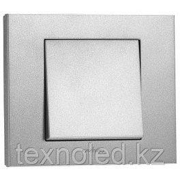 Выключатель 1 клав.  серебро GRANO, фото 2