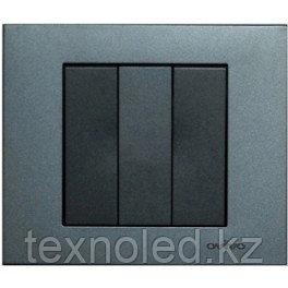 Выключатель 3 клав. дымчатый GRANO, фото 2