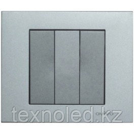 Выключатель 3 клав. серебро GRANO