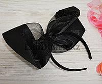 Ободок бантик из сетки черный
