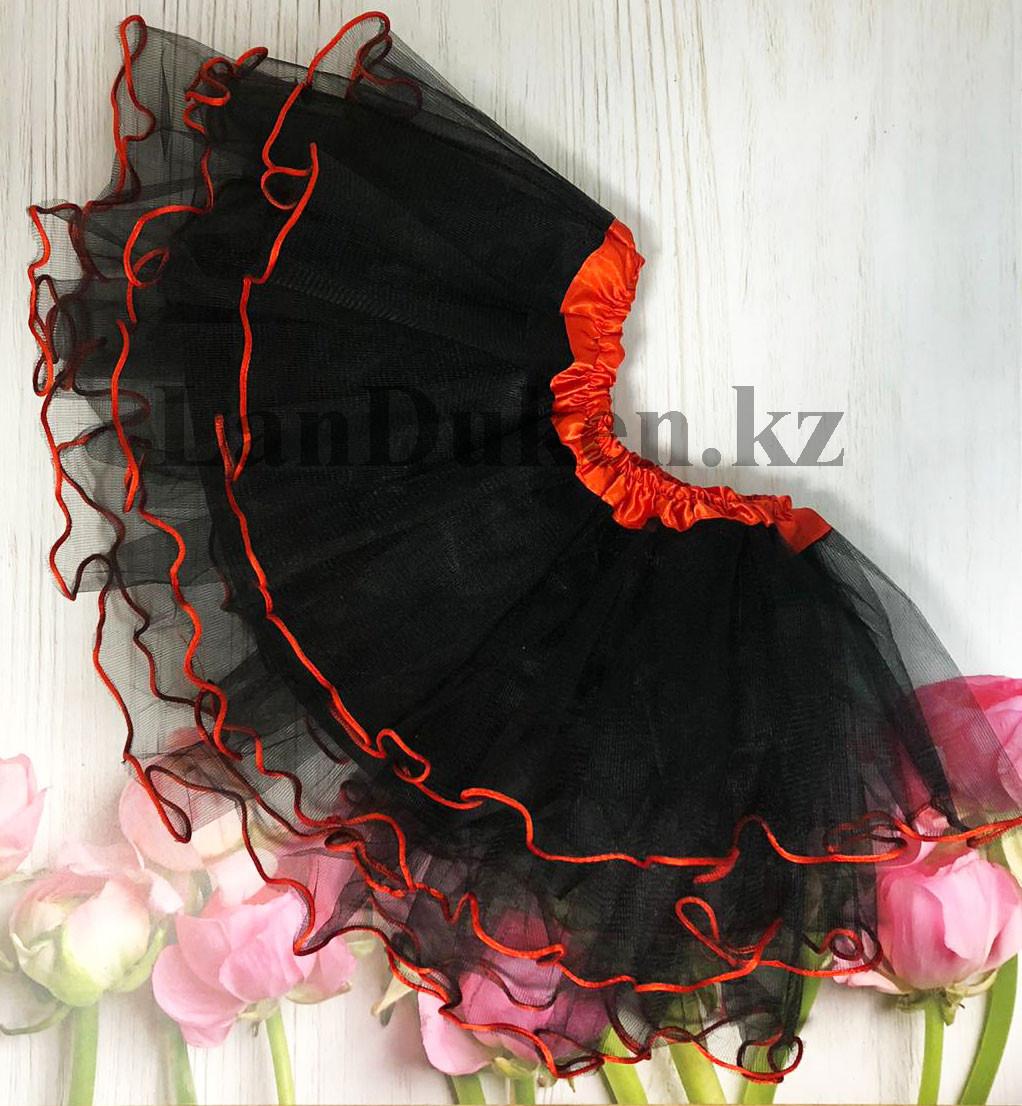 Юбка пачка детская для танцев 29 см Черная - фото 1
