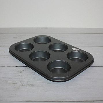 """Форма для выпечки """"Кекс"""" с антипригарным покрытием (6 ячейки)"""
