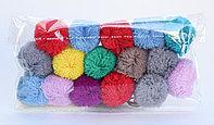 Помпоны декоративные из акриловой пряжи, 1.5 см, разноцветные