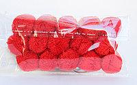 Помпоны декоративные из акриловой пряжи, 1.5 см, красные