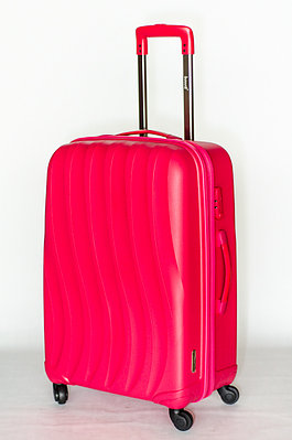 """Средний чемодан """" Bubule"""" розовый на колесах"""