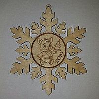 Снежинка с мышкой (бирка)