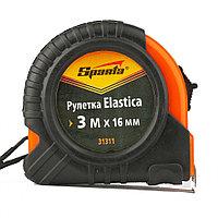Рулетка Elastica, 3 м х 16 мм, обрезиненный корпус Sparta, фото 1