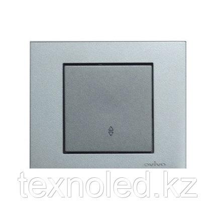 Выключатель 1-клавишный проходной Ovivo Grano серебро, фото 2